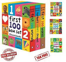 Set of 3 Toddler Learning Book First 100 Board Book Box-Words, Numbers, Animals