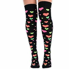 Womens Girls Novelty Romantic Hearts Over the Knee-High Socks - UK Size 4-6.5