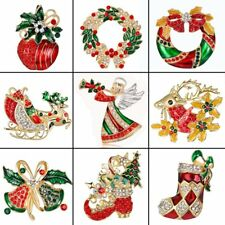 Crystal Christmas Jewelry Colorful Brooch Pin Broach Women Wedding Party Gift
