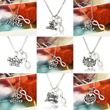 Mom Sister Infinity Heart Love Necklace Pendant Charm Jewelry Friend Girl Gift