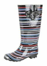 Ladies Welly Festival Rain Snow WIDE CALF FIT Stripes Wellies Wellington Boots