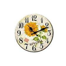 Magideal Home Decor Wall Clock Round Wood Wall Mounted Clock Floral Pattern