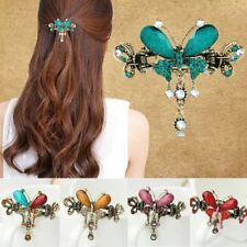 Vintage Women Elegant gem Butterfly Flower Hair clip claw clamp Barrette