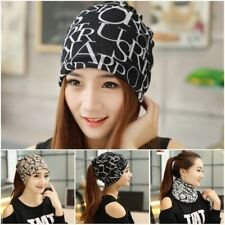 Womens Solid Wool Beret Warm Beanie Hat Winter Multifunction Scarf Ski Cap New