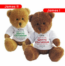 PERSONALISED STOCKING FILLER CHRISTMAS JAMES TEDDY BEAR SOFT TOY GIFT PRINTED