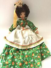 HANDMADE VINTAGE TOASTER APPLIANCE COVER DOLL ~ EMBROIDERED FACE CALICO DRESS