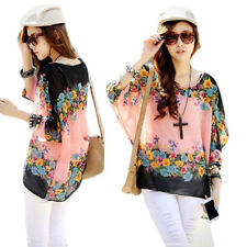 Loose  Blouse Stylish Lady Round Neck Fashion Batwing Sleeve Sexy  Chiffon