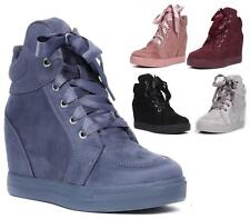 WOMENS LADIES FAUX SUEDE LACE UP  WEDGE HI HIGH TRAINER ANKLE BOOTS BOOTIES SIZE