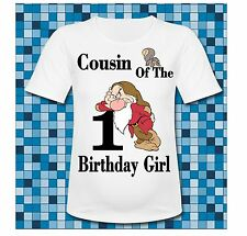 Any Saying Cousin of the Birthday Girl Grumpy Dwarf T Shirt All sizes snow white