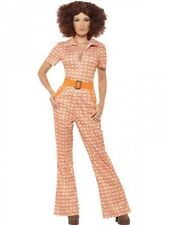 Ladies 1970's Costume Adults Womens 70s Seventies Fancy Dress Jumpsuit Outfit