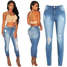 Sexy Women's Denim Ripped Pants Stretch Jeans Slim Pencil Jeggings Trousers E2Y4