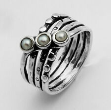 New SHABLOOL Ring 925 Sterling Silver White Pearl Three-Stone Jewelry