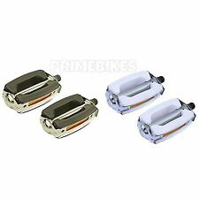 """Krate Bicycle Pedals 9/16"""" Lowrider Cruiser Bike Pedal Chrome & White or Black"""