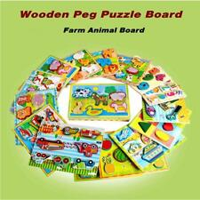 3 in 1 Wooden Puzzle Board Peg Hand Knob Early Educational Toys for Kids Y4R3