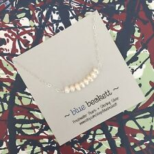 BLUE BECKETT Natural White Freshwater Pearls on Sterling Silver Necklace