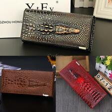 Women 3D Texture Bifold Long Wallet Multi-pocket Purse Money Cards NEW