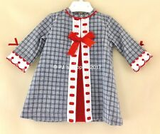 BABY GIRLS SPANISH BLUE TWEED RED SLOTTED RIBBON DRESS 6 12 18 24 36