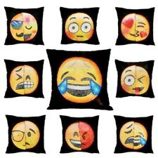 3D Funny Changing Face Emoji Cushion Cover DIY Sequin Mermaid Pillow Case Decor
