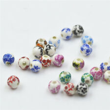 5/20pcs 6mm Ceramic Blue And White Porcelain Round Loose Beads Jewelry Making