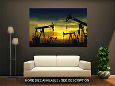 Wall Art Canvas Print Picture Industry Oil Pump Jack at Sunset-Texas-Unframed