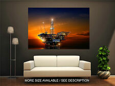 Wall Art Canvas Print Industry Oil Drilling Rig in Sunset Time-Unframed