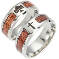 Unisex Wood Inlaid Stainless Steel Tree of Life Cross Finger Ring Jewelry Gift W