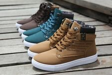 Men Fashion Casual High Top Canvas Shoes Lace Up Sneakers Driving Moccasins