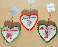 Gisela Graham Christmas Tree Heart Decoration Fabric Embroidered Hearts