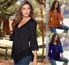 Sexy Women Long Sleeve Loose Cotton Casual Fashion Shirt Top T-Shirt Blouse Lace