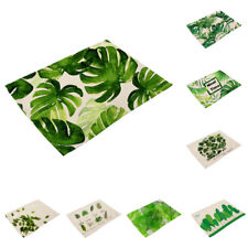 Green Leaf Print Placemat Dining Table Mat Dinner Plate Cutlery Pad Cushion
