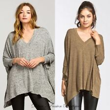 XS/S or M/L Cherish Double Layer Sleeve V Neck Top - Lt. Olive or Heather Gray