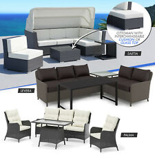 Wicker Rattan Modular Sofa Day Bed Set Lounge Table Setting Outdoor Furniture