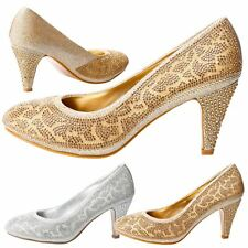 Selina Womens Mid High Heels Diamante Bead Court Shoes Ladies Pumps Pattern Size