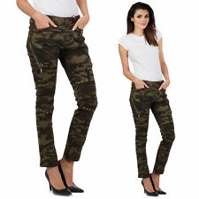 New Ladies Womens Green Camouflage Slim Skinny Studded Jeans Trousers Short Leg