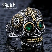 Mens Gothic Skull Carving Cross Muertes Stainless Steel Silver Gold Ring Mens