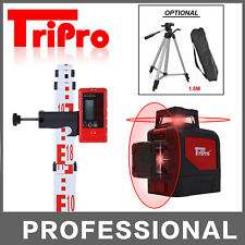 3D 2x360° Self Leveling Rotary Cross Laser Level Tripod Receiver Detector Staff