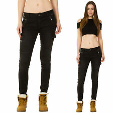 New Womens Low Rise Slim Skinny Black Faded Stretch Cargo Jeans Combat Pants