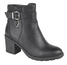 Ladies Black Inside Zip And Buckle Heeled Ankle Boots 3 4 5 6 7 8