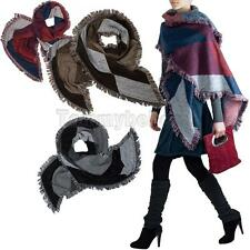 Large Cape Style Scarf  Pashmina Shawl Thick  Scarves Tartan Wrap Stole Wool