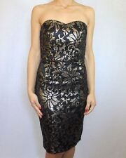 Next Black & Gold Bandeau Sequin Dress Sz UK 10 12 Reg & 10 petite rrp £75