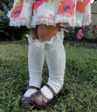 New Kids Child Nice Cotton Lace Knee High Socks Anti-slip Stockings Leg Warmer g