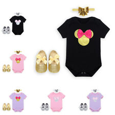 Minnie Girls Cotton Romper Newborn Baby Jumpsuit Bows Headband Shoes Outfit Set