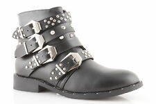 Women's ankle boots low studded buckles eco-leather combat boots studded winter