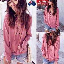 Women V-neck Tie Front Lace up Long Sleeve Shirt Ladies Casual Loose Tops Blouse