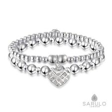 925 Sterling Silver Sarulo Beads Bracelet Jewelry Fashion Charm Gift Box Solid