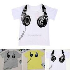 Summer Kids Baby Boy Earphone Printed Tops T-shirts Short Sleeve Blouse Clothes