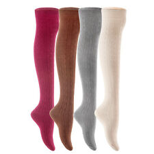 Lian LifeStyle Women' 4 Pairs Over Knee High Thigh High Cotton Boot Socks 6-10