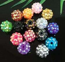 16Pcs 15Color Resin Twinkling Disco Ball AB Crystal Spacer Beads 12x10mm
