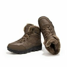 Men Winter Warmth Furry High Top Ankle Boots Real Leather Hiking Shoes Plus Size