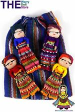 New Worry Dolls in handwoven pouch with 4 boy dolls
